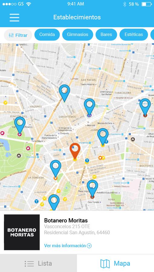 Aplicación Móvil con servicio de ubicación y mapas